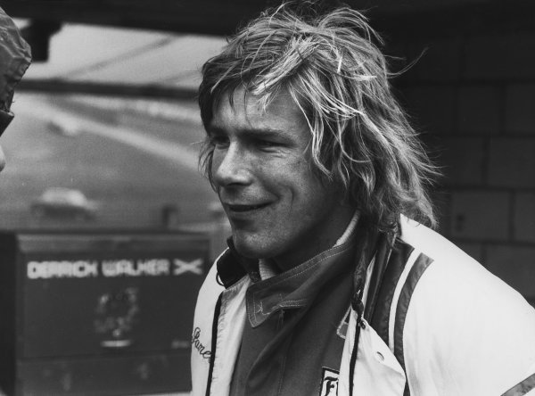 Brands Hatch, England. 17th March 1974. James Hunt (Hesketh 308-Cosworth), retired, portrait.  World Copyright: LAT Photographic.  Ref:  B/W Print.