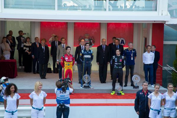 2014/2015 FIA Formula E Championship.  MonaSebastien Buemi (SWI)/E.dams Renault - Spark-Renault SRT_01E Lucas di Grassi (BRA)/Audi Abt Sport - Spark-Renault SRT_01E Nelson Piquet Jr (BRA)/China Racing - Spark-Renault SRT_01E co ePrix Race. Monaco ePrix, Monte Carlo, Monaco, Europe. Saturday 9 May 2015  Photo: Adam Warner/LAT/Formula E ref: Digital Image _L5R1450