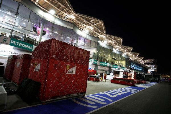 Sepang International Circuit, Sepang, Kuala Lumpur, Malaysia. Sunday 30 March 2014. Ferrari packing crates. World Copyright: Charles Coates/LAT Photographic. ref: Digital Image _N7T8941