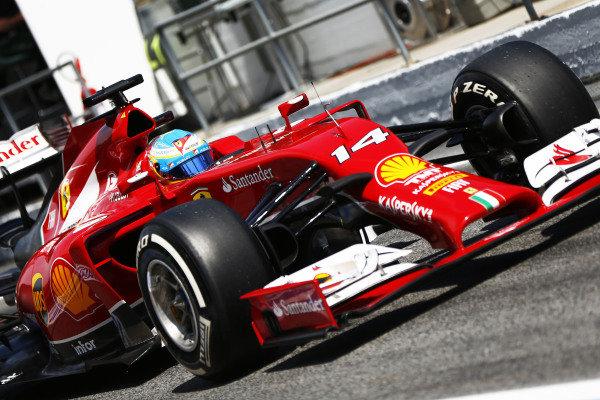 Circuit de Catalunya, Barcelona, Spain. Saturday 10 May 2014. Fernando Alonso, Ferrari F14T. World Copyright: Andy Hone/LAT Photographic. ref: Digital Image _ONZ0805