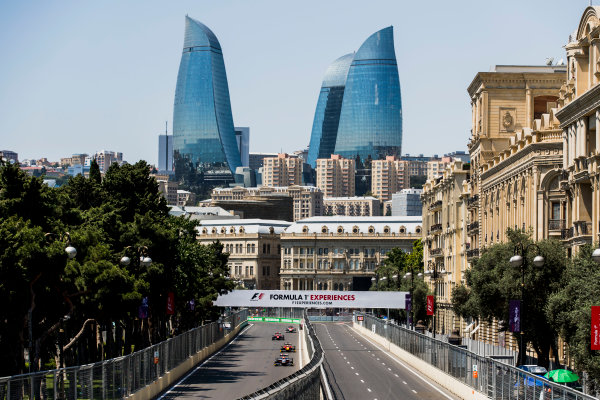 2017 FIA Formula 2 Round 4. Baku City Circuit, Baku, Azerbaijan. Friday 23 June 2017. Luca Ghiotto (ITA, RUSSIAN TIME), Louis Deletraz (SUI, Racing Engineering), Nobuharu Matsushita (JPN, ART Grand Prix)  Photo: Zak Mauger/FIA Formula 2. ref: Digital Image _56I6657