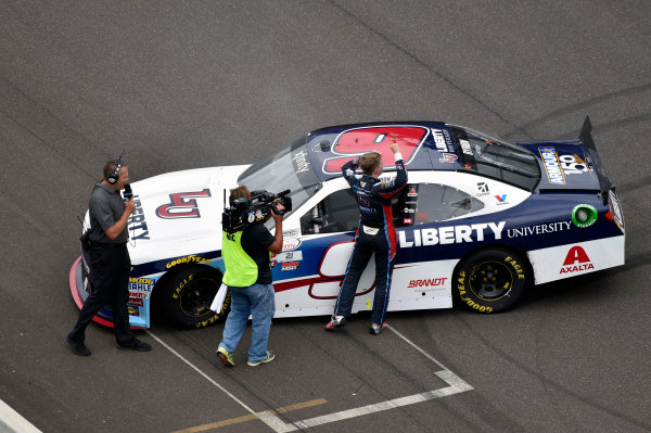 NASCAR XFINITY Series Lilly Diabetes 250 Indianapolis Motor Speedway, Indianapolis, IN USA Saturday 22 July 2017 William Byron, Liberty University Chevrolet Camaro celebrates his win World Copyright: Nigel Kinrade LAT Images