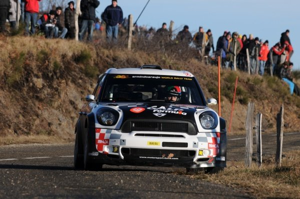 Armindo Araujo (POR), Mini John Cooper Works WRC, on stage 1. FIA World Rally Championship, Rd1, Rallye Monte-Carlo, Monaco, Day One, Wednesday 18 January 2012.
