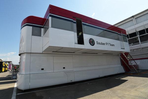 Alfa Romeo Sauber F1 Team trucks in the Paddock