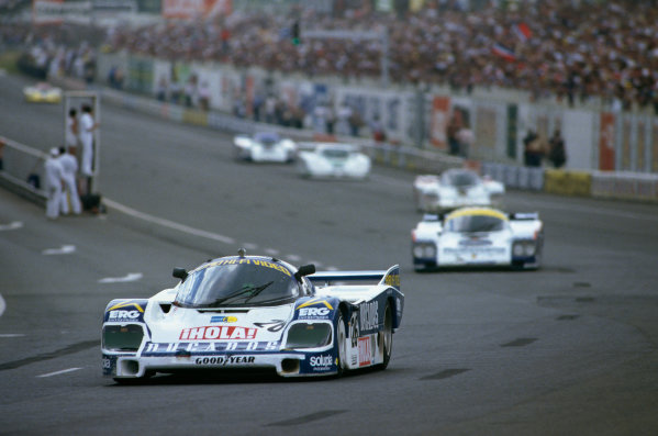 Le Mans, France. 15th - 16th June 1985.Jurgen Lassig/Herve Regout/Jesus Pareja (Porsche 956), 8th position,  action. World Copyright: LAT Photographic.Ref:  85LM06.