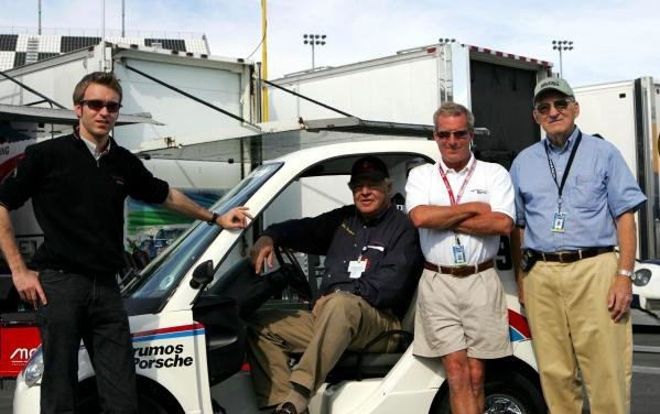 (L to R): Timo Bernhard (GER), Bob Snodgrass (USA) Brumos Boss, Hurley Haywood (USA) and the founder of IMSA and honorary Grand Am Chairman, John Bishop (USA).Grand Am Testing, Daytona International Speedway, Daytona, USA, 7-9 January 2005.DIGITAL IMAGE