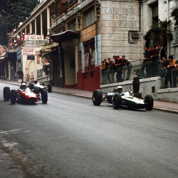Monte Carlo, Monaco.28-30 May 1965.Bob Anderson (number 9, Brabham BT11 Climax) leads Frank Gardner and Jo Siffert (both Brabham BT11 BRM).Ref-3/1632.World Copyright - LAT Photographic