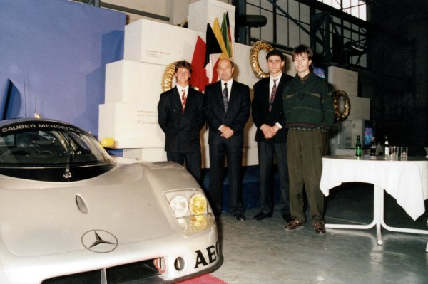 Left to right: Michael Schumacher, Peter Sauber, Karl Wendlinger and Heinz-Harald Frentzen at the announcement of the 1990 Sauber-Mercedes-Benz Young Drivers. World - LAT Photographic