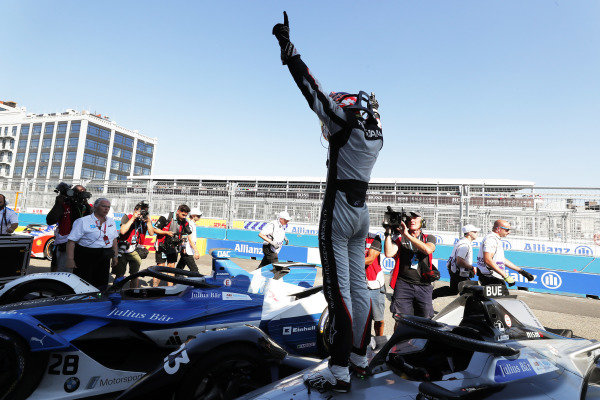 Sébastien Buemi (CHE), Nissan e.Dams, Nissan IMO1, celebrates after winning the race