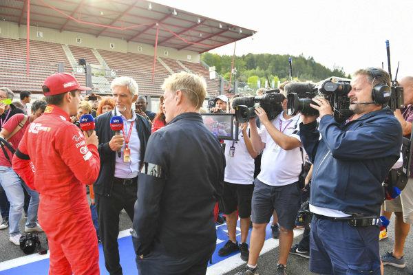Winner Charles Leclerc, Ferrari, talks to Sky presenters Damon Hill, Sky TV and Simon Lazenby
