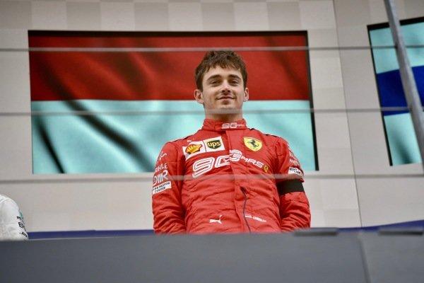 Charles Leclerc, Ferrari, 1st position, on the podium