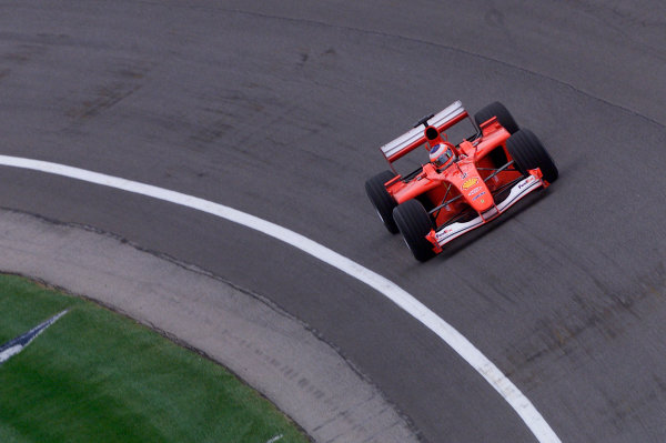 2001 American Grand Prix - QualifyingIndianapolis, United States. 29th September 2001.Rubens Barrichello, Ferrari F2001, action.World Copyright: Steve Etherington/LAT Photographicref: 18mb Digital Image