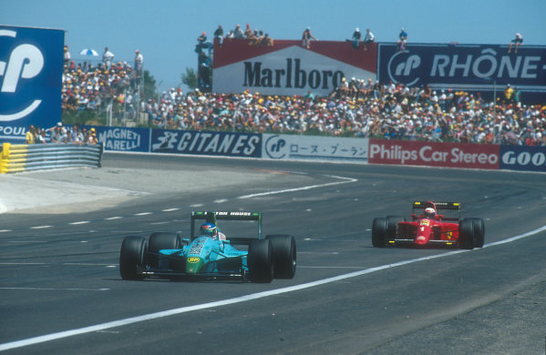 1990 French Grand Prix.Paul Ricard, Le Castellet, France. 6-8 July 1990.Ivan Capelli (Leyton House CG901 Judd) leads Alain Prost (Ferrari 641). They finished in 2nd and 1st positions respectively. Ref-90 FRA 13.World Copyright - LAT Photographic