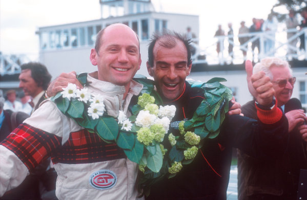 2001 Goodwood Revival.Goodwood, Sussex, England.15-16 September 2001.Fisken/Pirro (Jaguar E-type lightweight) 1st position in the RAC TT race. Ref-01 GR 35.World Copyright - LAT Photographic