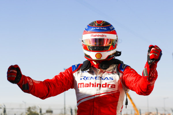 Jérôme d'Ambrosio (BEL), Mahindra Racing, celebrates victory in Parc Ferme