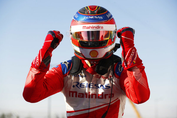 Jérôme d'Ambrosio (BEL), Mahindra Racing, M5 Electro, celebrates as he climbs from his car in Parc Ferme after winning the race