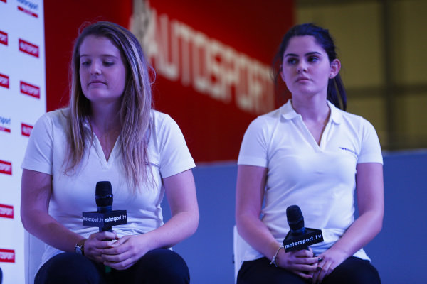 W Series drivers Alexandra Marinescu and Caitlin Wood talk to Stuart Codling on the Autosport Stage.