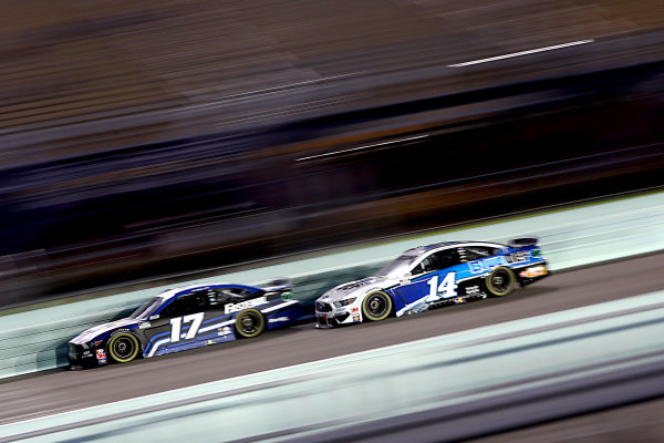 Chris Buescher, Roush Fenway Racing Ford Fastenal, Clint Bowyer, Stewart-Haas Racing Ford BlueDEF, Copyright: Chris Graythen/Getty Images.