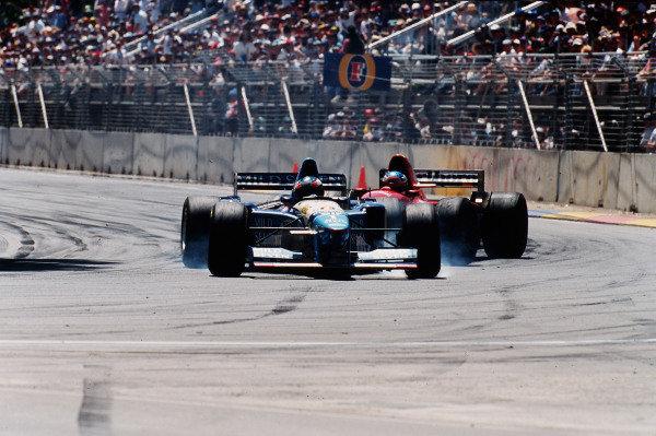 1995 Australian Grand Prix. Adelaide, Australia. 10-12 November 1995. Michael Schumacher (Benetton B195 Renault) and Jean Alesi (Ferrari 412T2) both exit the race after having a collision.  Ref-95 AUS 09. World Copyright - LAT Photographic