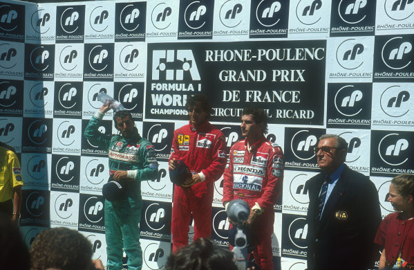 1990 French Grand Prix.Paul Ricard, Le Castellet, France.6-8 July 1990.Alain Prost (Ferrari ) 1st position, Ivan Cpelli (Leyton House Judd) 2nd position and Ayrton Senna (McLaren Honda) 3rd position on the podium. FIA President Jean-Marie Balestre stands on the right,Ref-90 FRA 07.World Copyright - LAT Photographic