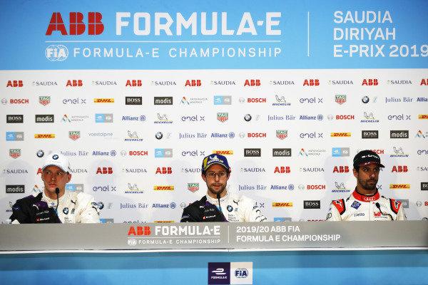 Maximilian Günther (DEU), BMW I Andretti Motorsports, Alexander Sims (GBR) BMW I Andretti Motorsports, and Lucas Di Grassi (BRA), Audi Sport ABT Schaeffler, in the press conference