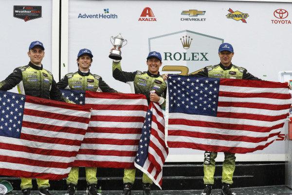 #12 AIM Vasser Sullivan Lexus RC F GT3, GTD: Frank Montecalvo, Townsend Bell, Aaron Telitz, Jeff Segal, podium