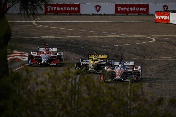 Matheus Leist, A.J. Foyt Enterprises Chevrolet, Tony Kanaan, A.J. Foyt Enterprises Chevrolet, Zach Veach, Andretti Autosport Honda