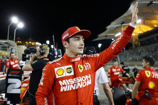 Charles Leclerc, Ferrari celebrates pole position in Parc Ferme