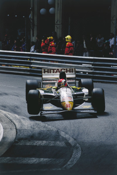 2003 Racing Past. . Exhibition1994 Monaco Grand Prix, Monte Carlo. Johnny Herbert (Lotus 107C-Mugen) lifts a wheel at Mirabeau.World Copyright - LAT PhotographicExhibition ref: a064