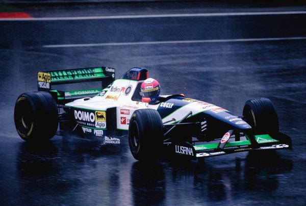 1995 Belgian Grand Prix.Spa-Francorchamps, Belgium. 25-27 August 1995.Pedro Lamy (Minardi M195 Ford) 10th position.Ref-95 BEL 31.World Copyright - LAT Photographic