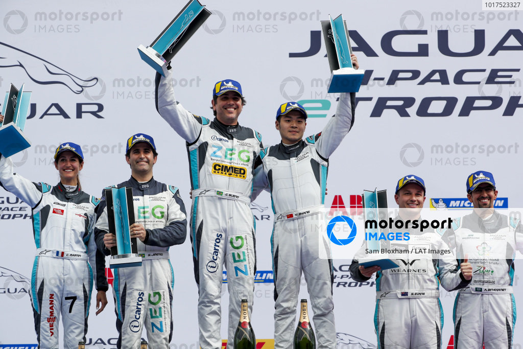Cacá Bueno (BRA), Jaguar Brazil Racing and Yaqi Zhang (CHI), Team China, 1st position, Sérgio Jimenez (BRA), Jaguar Brazil Racing, and Célia Martin (FRA), Viessman Jaguar eTROPHY Team Germany, 2nd position, and Simon Evans (NZL), Team Asia New Zealand, and Ahmed Bin Khanen (SAU), Saudi Racing, 3rd position, on the podium