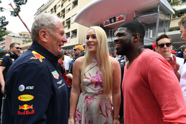Ice Hockey player P.K. Subban on the grid with his partner Lyndsey Vonn and Helmut Markko, Consultant, Red Bull Racing
