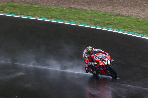 Chaz Davies, Aruba.it Racing-Ducati Team on wet assessment laps.