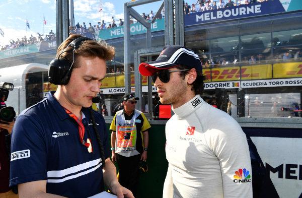 Antonio Giovinazzi (ITA) Sauber on the grid at Formula One World Championship, Rd1, Australian Grand Prix, Race, Albert Park, Melbourne, Australia, Sunday 26 March 2017.