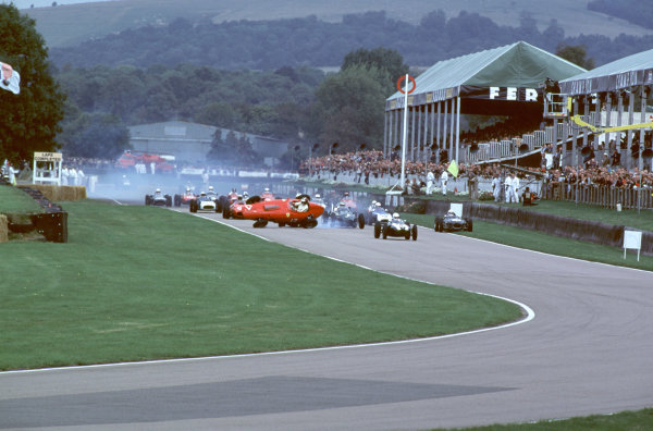 2000 Goodwood Motor Circuit Revival. Goodwood, England. 15th - 17th September 2000. Nigel Corner is catapulted out of his Ferrari Dino at the start of the race, action.  World Copyright: Jeff Bloxham / LAT Photographic. Ref:  FoS03.