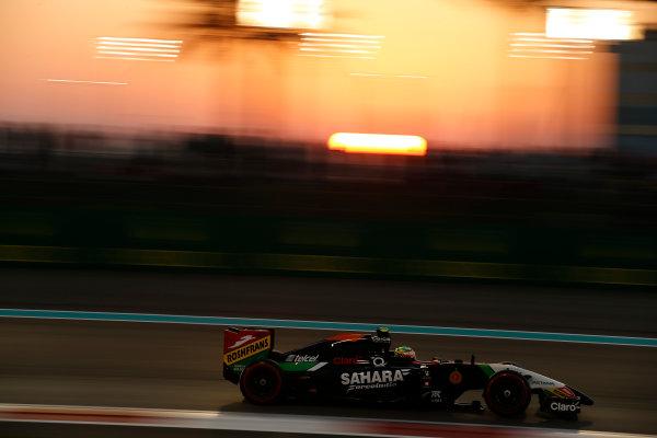 Yas Marina Circuit, Abu Dhabi, United Arab Emirates. Saturday 22 November 2014. Sergio Perez, Force India VJM07 Mercedes. World Copyright: Glenn Dunbar/LAT Photographic. ref: Digital Image _89P6353