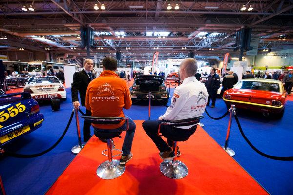 Autosport International Exhibition. National Exhibition Centre, Birmingham, UK. Friday 9 January 2015. Kris Meeke and  Paul Nagle on the Motorsport News stand. World Copyright: Zak Mauger/LAT Photographic. ref: Digital Image _P7T0274
