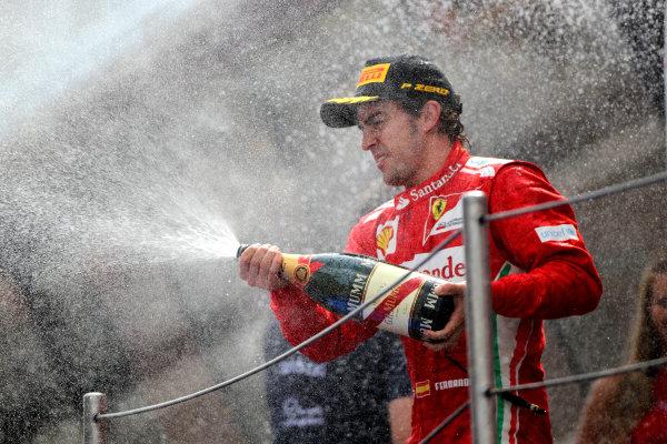 Circuit de Catalunya, Barcelona, Spain13th May 2012Fernando Alonso, Ferrari, 2nd position, sprays the Champagne.World Copyright: Andy Hone/LAT Photographicref: Digital Image HONY9278