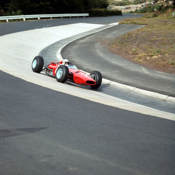 Nurburgring, Germany.30/7-1/8 1965.John Surtees (Ferrari 1512) in the Karussel.World Copyright: LAT PhotographicRef: 1803.