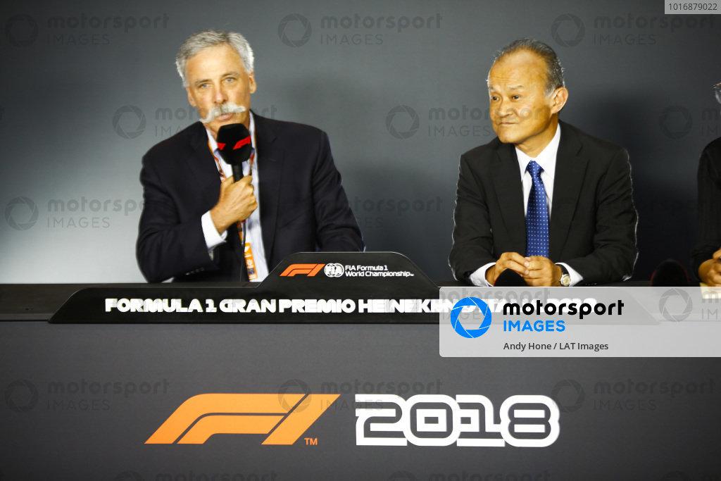 Chase Carey, Chairman, Formula One, and Susumu Yamashita, President at MobilityLand Corp, announce Hondas sponsorship of the Japanese Grand Prix.