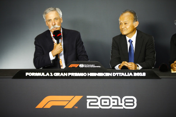 Chase Carey, Chairman, Formula One, and Susumu Yamashita, President at MobilityLand Corp, announce Hondas sponsorship of the Japanese Grand Prix.