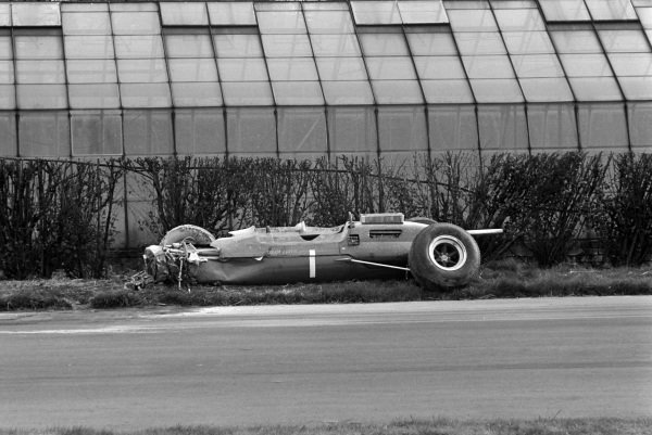 The remains of Jim Clark's Lotus 33 Climax.