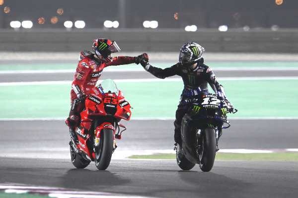 Maverick Vinales, Yamaha Factory Racing, Francesco Bagnaia, Ducati Team.