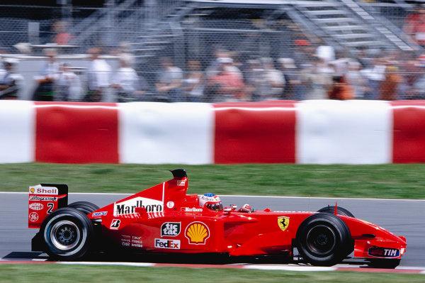 2001 Canadian Grand Prix.Montreal, Quebec, Canada. 8-10 June 2001.Rubens Barrichello (Ferrari F2001).Ref-01 CAN 25.World Copyright - Clive Rose/LAT Photographic