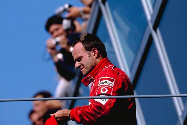 2002 Italian Grand PrixMonza, Italy. 14th - 16th September 2002Rubens Barrichello, Ferrari F2002, celebrates victoryWorld Copyright - LAT Photographicref: 35mm Transparency 02_ITA_33