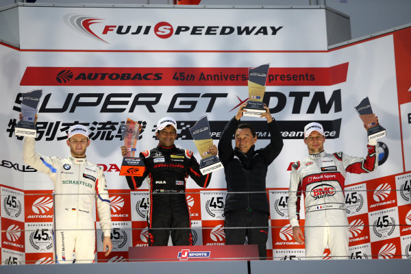 Podium: Race winner Narain Karthikeyan, Nakajima Racing Honda NSX-GT, second place Marco Wittmann, BMW Team RBM BMW M4 DTM, third place Loic Duval, Audi Sport Team Phoenix Audi RS5 DTM.