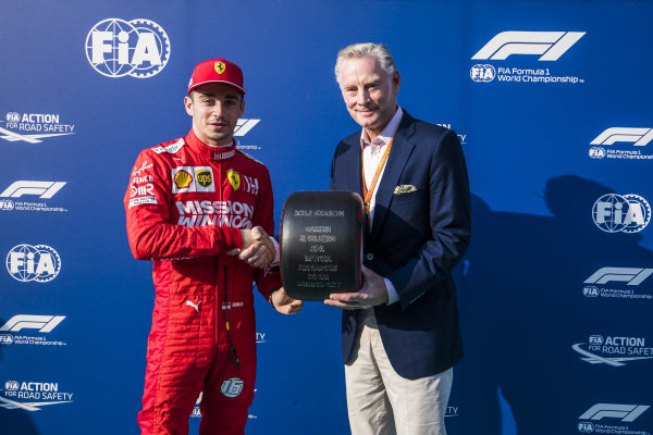 Charles Leclerc, Ferrari, receives the Pirelli Pole Position of 2019 Award from Sean Bratches, Managing Director of Commercial Operations, Formula One Group