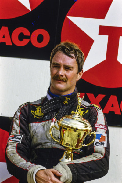 Nigel Mansell, 3rd position, on the podium.