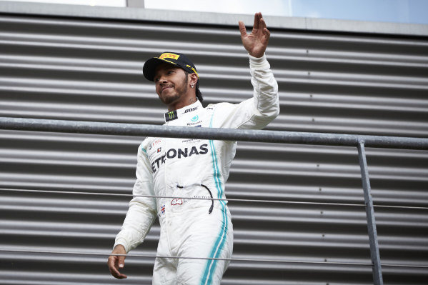 Lewis Hamilton, Mercedes AMG F1, 2nd position, arrives on the podium