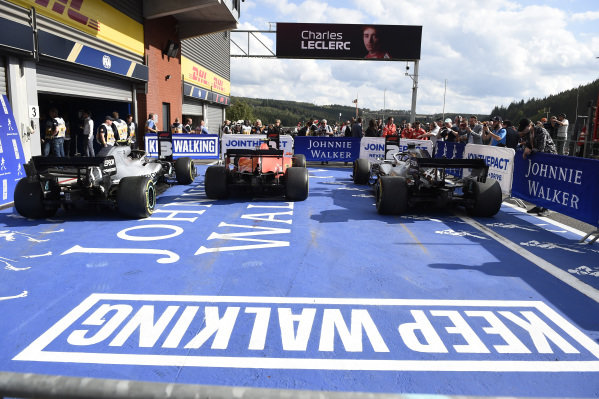 The cars of Valtteri Bottas, Mercedes AMG W10, 3rd position, Charles Leclerc, Ferrari SF90, 1st position, and Lewis Hamilton, Mercedes AMG F1 W10, 2nd position, in Parc Ferme